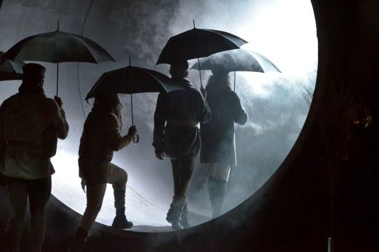 the shrews with umbrellas