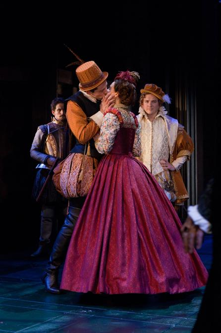 Production image of Josh O'Connor as Rowland Lacy and Thomasin Rand as Rose Oatley.