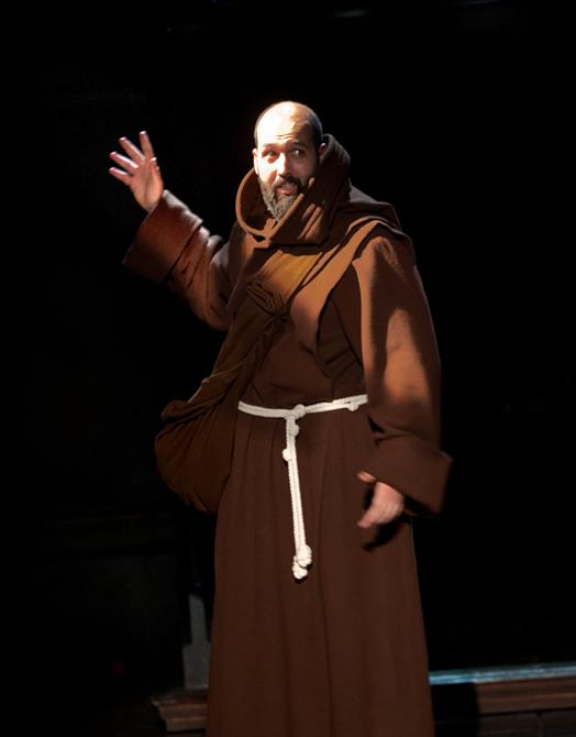 Youssef Kerkour as Sir Eglamour in The Two Gentlemen of Verona 2014, wearing a monk's robe
