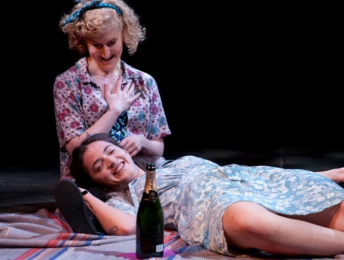 Leigh Quinn as Lucetta and Pearl Chanda as Julia in The Two Gentlemen of Verona 2014