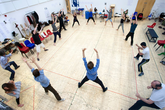 Rehearsing movement for The Two Gentlemen of Verona 2014