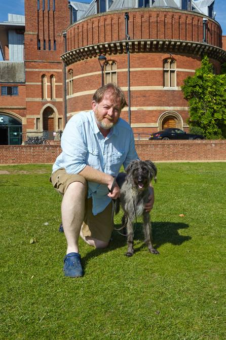 The Two Gentlemen of Verona 2014 actors Mossup the dog and Roger Morlidge outside the Swan Theatre, Stratford-upon-Avon