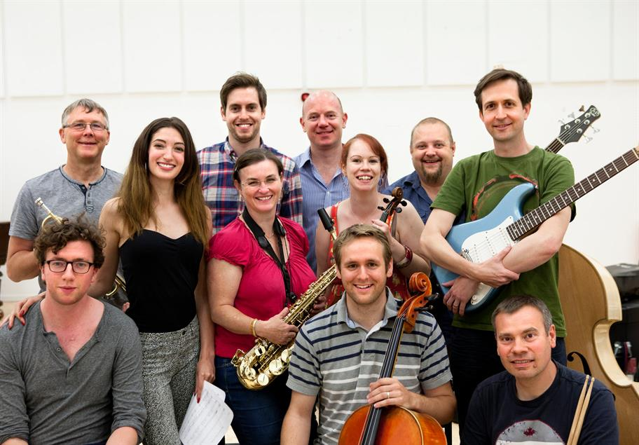 Musicians rehearsing The Two Gentlemen of Verona, 2014, directed by Simon Godwin