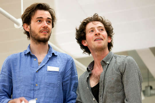 Michael Marcus as Valentine and Martin Bassindale as Speed in rehearsals for The Two Gentlemen of Verona 2014