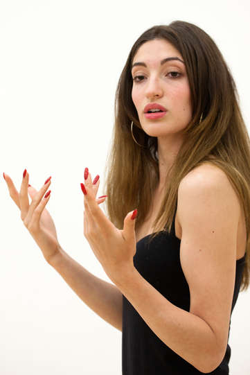 Molly Gromadzki as Host in rehearsal for The Two Gentlemen of Verona 2014