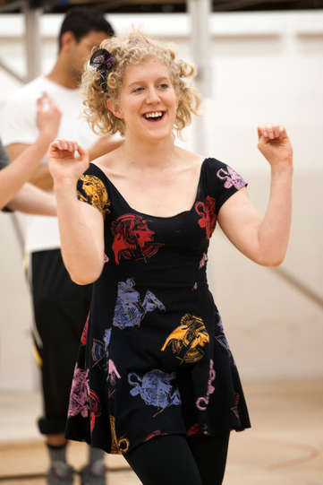Leigh Quinn as Lucetta in rehearsal for The Two Gentlemen of Verona 2014