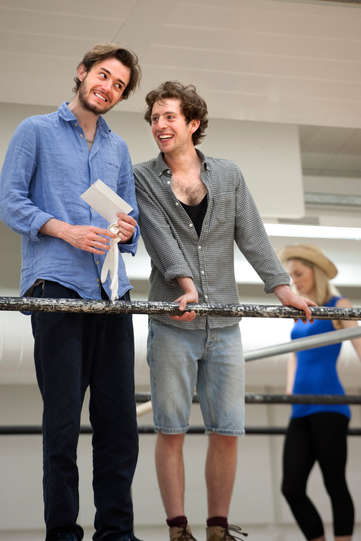 Michael Marcus as Valentine and Martin Bassindale as Speed in rehearsal for The Two Gentlemen of Verona 2014