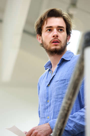 Michael Marcus as Valentine in rehearsal for The Two Gentlemen of Verona 2014
