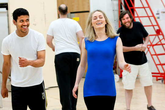 The cast of The Two Gentlemen of Verona, 2014,  in rehearsal