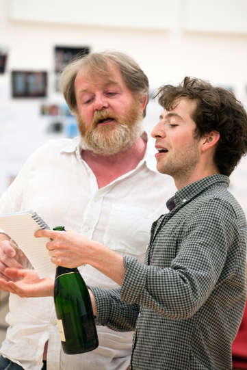 Roger Morlidge as Launce and Martin Bassindale as Speed in rehearsal for The Two Gentlemen of Verona 2014