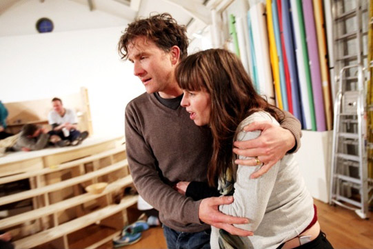 Jo Stone-Fewings hugs a shocked Tara Fitzgerald
