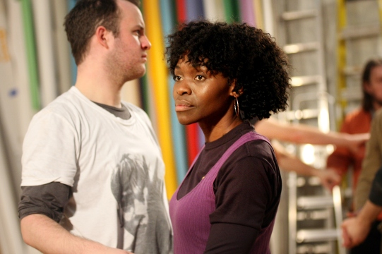 Rakie Ayola and Duncan Wisbey look away from each other during rehearsals