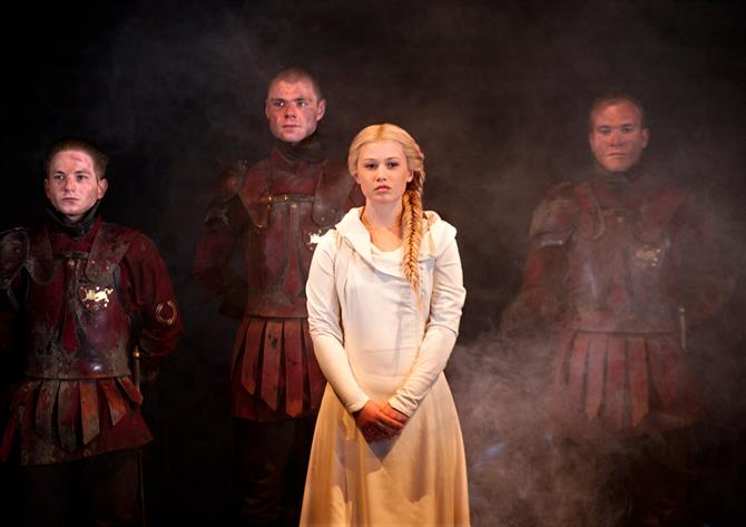 Production photo of Rose Reynolds as Lavinia.