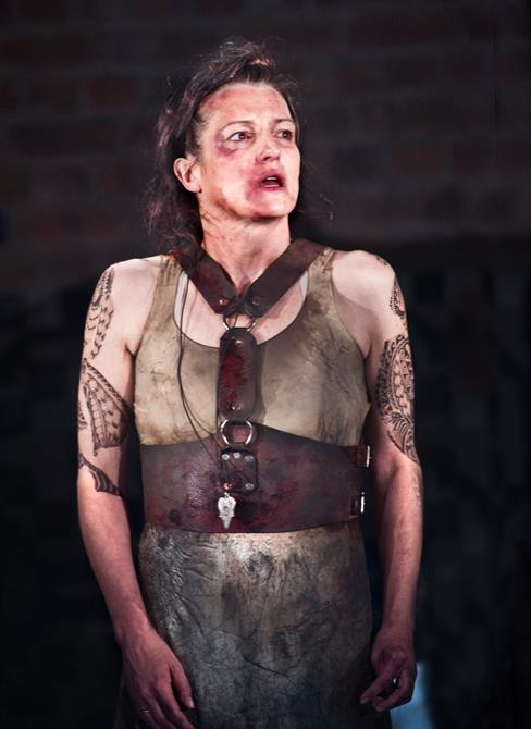 Production image of Katy Stephens as Tamora.
