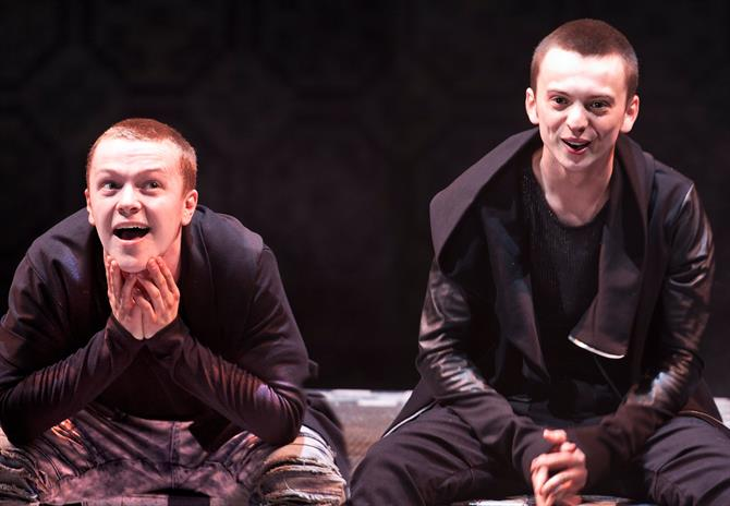 Production image of Jonny Weldon as Chiron and Perry Millward as Demetrius.