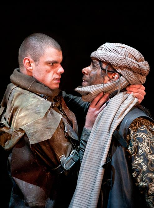 Production image of Matthew Needham as Lucius and Kevin Harvey as Aaron.