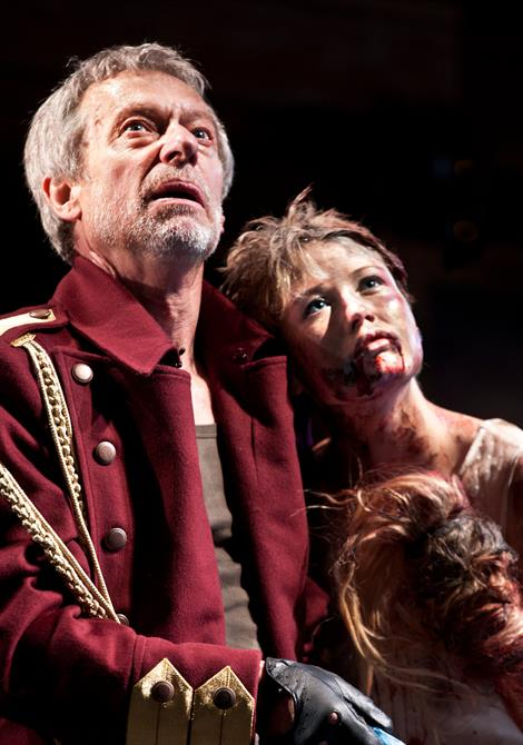Production image of Stephen Boxer as Titus (Left) and Rose Reynolds as Lavinia (right).