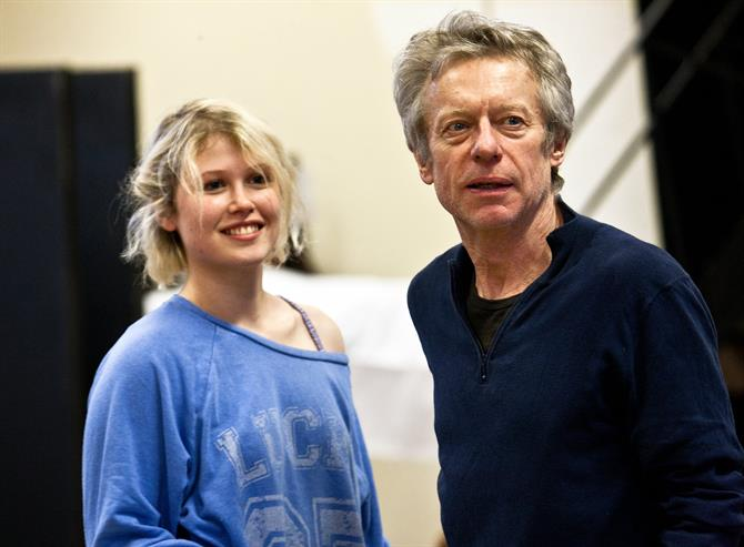 Rehearsal image of Rose Reynolds (left) and Stephen Boxer (right).