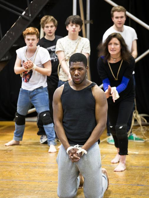 Dwane Walcott and the cast of Titus Andronicus in rehearsal.