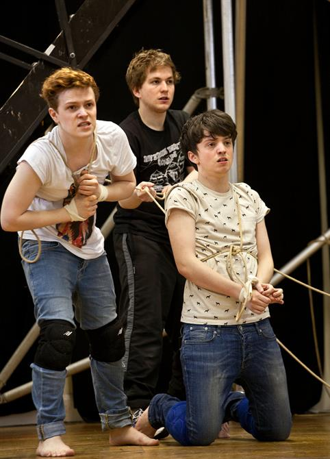 Jonny Weldon, Harry McEntire and Perry Millward in rehearsal