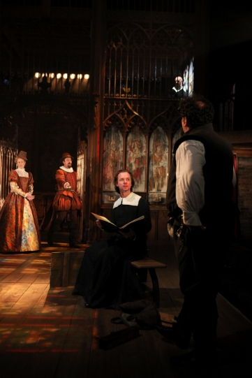 Annette McLoughlin and Simon Thorp as Lord and Lady Saville, Jamie Ballard as Chaplain, Daniel Stewart as Clerk and Ian Midlane as Church Warden in Written on the Heart.