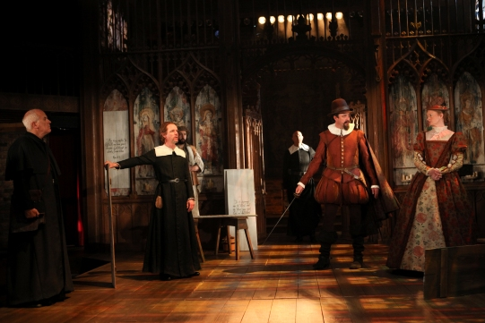 James Hayes as Archdeacon, Jamie Ballard as Chaplain, Daniel Stewart as Clerk and Simon Thorp and Annette McLaughlin as Lord and Lady Saville in Written on the Heart.