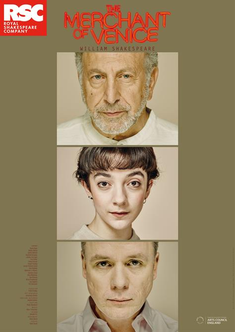 Poster for The Merchant of Venice showing headshots of two men and a woman