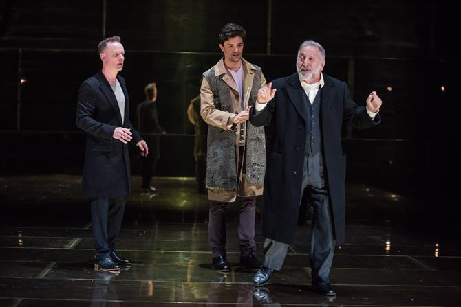 Antonio and Bassanio negotiate the bond with Shylock in The Merchant of Venice 2015