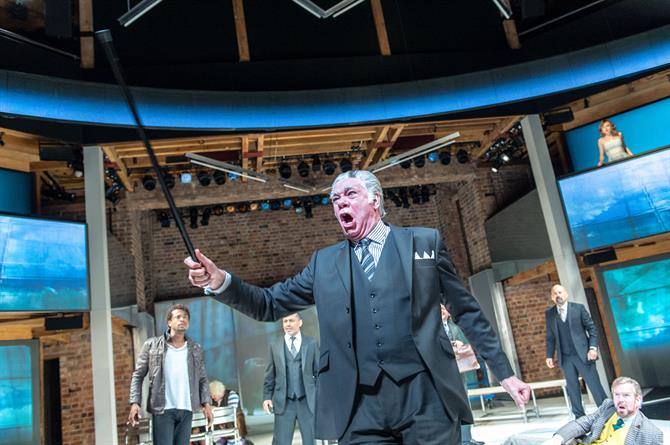 An enraged Matthew Kelly as Corvino raising a cane.
