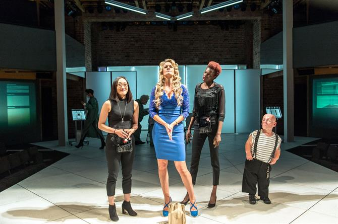 Production image of Gabby Wong as Assistant to Lady Politic Would-Be, Annette McLaughlin as Lady Politic Would-Be, Sheila Atim as Assistant to Lady Politic Would-Be and Jon Key as Nano.