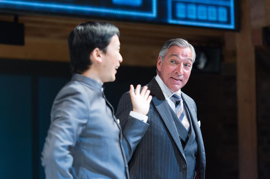 Orion Lee as Mosca and Miles Richardson as Voltore in Volpone, directed by Trevor Nunn.