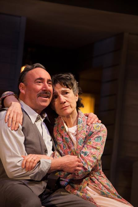 Antony Sher and Harriet Walter hug on stage