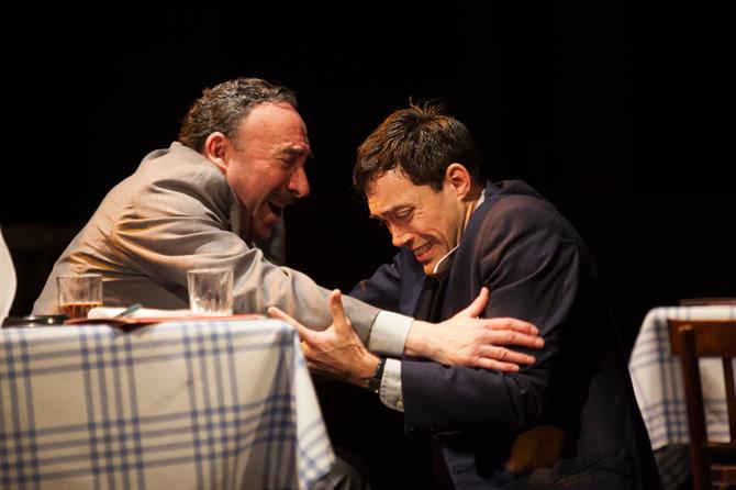 Antony Sher and Alex Hassell hold both cry on stage