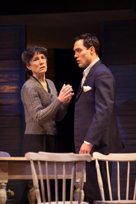 Harriet Walter and Alex Hassell stand on stage