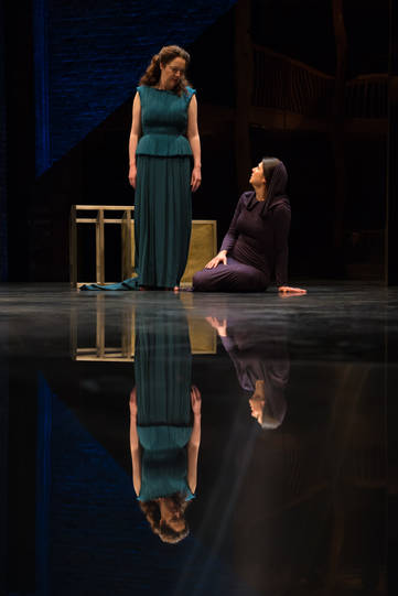 Derbhle Crotty as Hecuba and Lara Stubbs as Xenia in Hecuba.