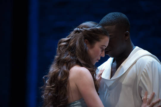 Amy McAllister as Polyxena and David Ajao as Nepotolemus in Hecuba.