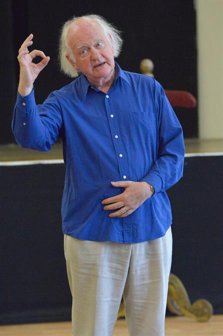 Oliver Ford Davies in rehearsal for Henry V