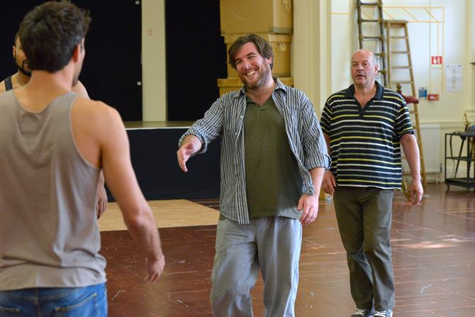 Simon Yadoo and Andrew Westfield in rehearsal for Henry V