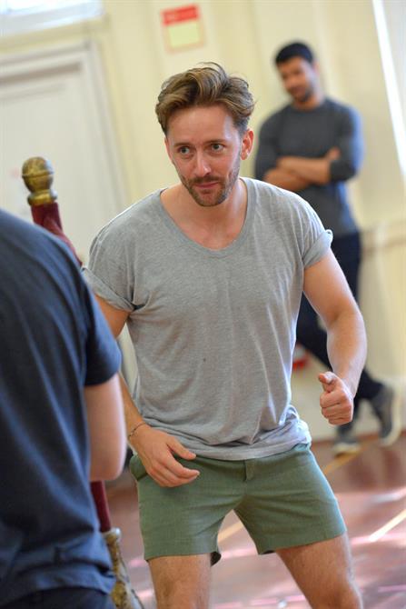 Sam Marks in rehearsal for Henry V