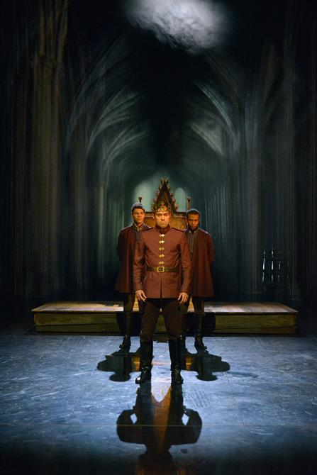 Daniel Abbott as Gloucester, Alex Hassell as Henry V and Dale Mathurin as Bedford in Henry V.
