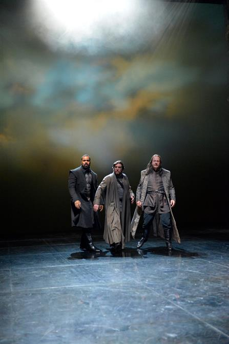 Obioma Ugoala as Grey, Simon Yadoo as Cambridge and Keith Osborn as Scroop in Henry V.