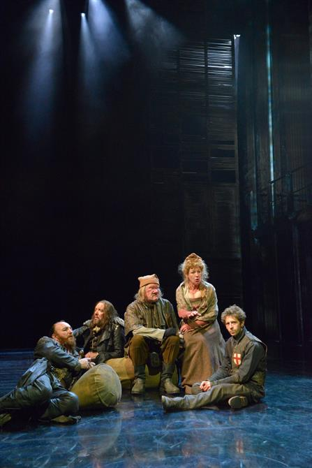 Antony Byrne as Pistol, Christopher Middleton as Nym, Joshua Richards as Bardolph, Sarah Parks as Mistress Quickly, Martin Bassindale as Boy in Henry V