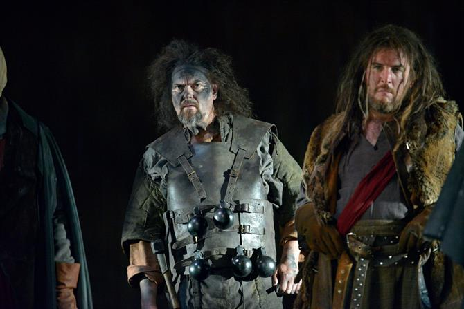 Andrew Westfield as MacMorris and Simon Yadoo as Jamy in Henry V.