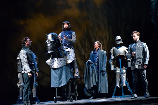 Nicholas Gerard-Martin as Orleans, Robert Gilbert as Dauphin, Evelyn Miller as Rambures and Sam Marks as Constable of France in Henry V.