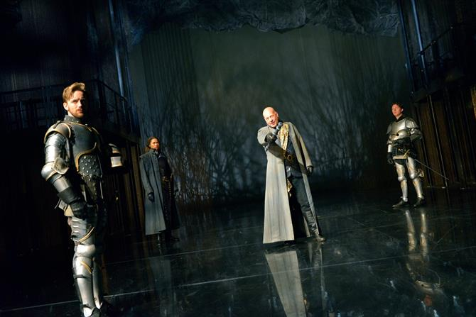 Sam Marks as Constable of France, Evelyn Miller as Rambures, Keith Osborn as Montjoy and Nicholas Gerard-Martin as Orleans in Henry V.