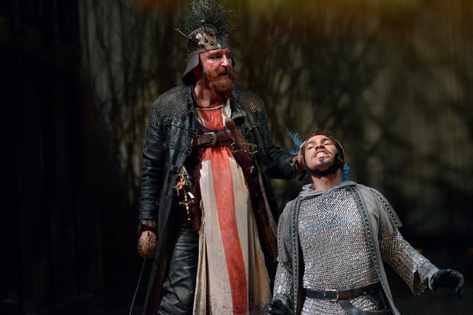 Antony Byrne as Pistol and Daniel Abbott as Monsieur Le Fer in Henry V.