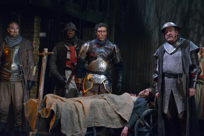 Andrew Westfield as Court, Obioma Ugoala as Gower, Alex Hassel l as Henry V, Martin Bassindale as Boy and Joshua Richards as Fluellen in Henry V.