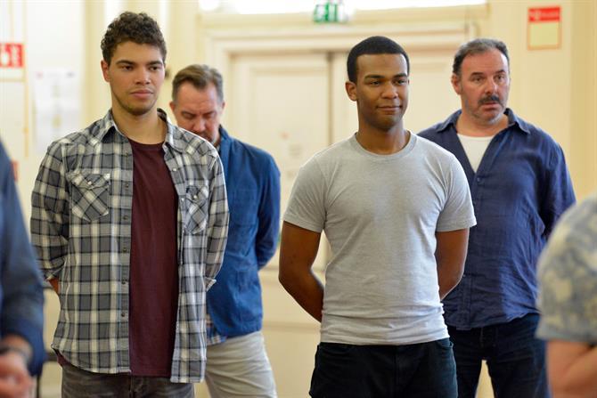 Daniel Abbott, Dale Mathurin and Sean Chapman in rehearsal for Henry V