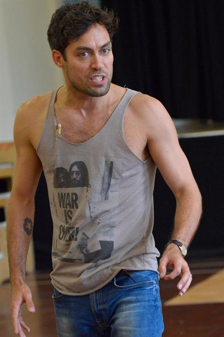 Alex Hassell in rehearsal for Henry V