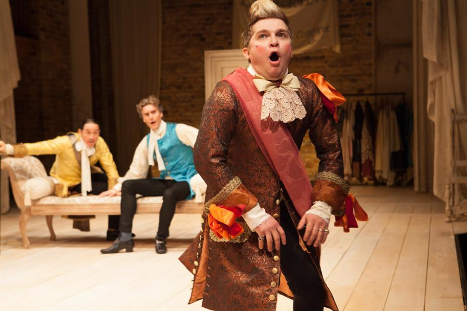 Robert Cavanah as Scandal, Tom Turner as Valentine Legend and Jonathan Broadbent as Tattle in Love for Love.